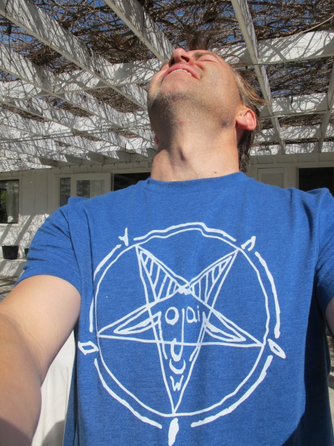 ojai face, baphomet, occult symbol, inverted pentagram, goat head, t-shirt design,