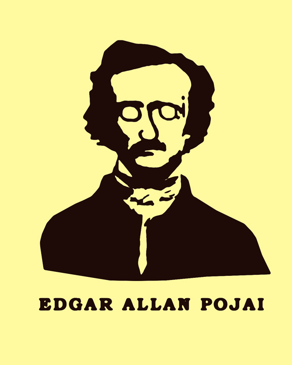 Edgar Allan Poe, Ojai Face, t-shirt design, screen print, Chris T. Wilson, Ojai, CA, California