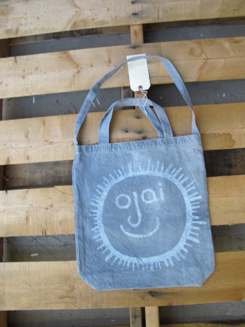 White Ojai Face on Dark tie dye tote by Chris T. Wilson