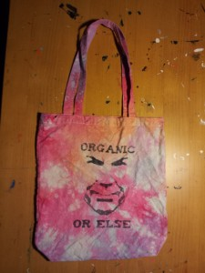 organic, tote bag, tie dye, organic or else, steve sprinkel, ollivia chase, ojai, meiners oaks, farmer and the cook